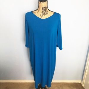 5988ff036f3f0 Eileen Fisher Dresses - Eileen Fisher 3/4 Sleeve V-Neck Jersey Shift Dress